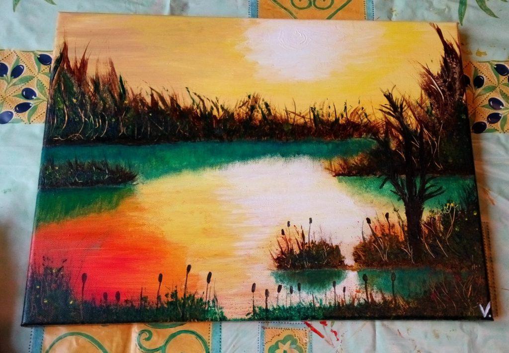 Západ slnka pri jazere